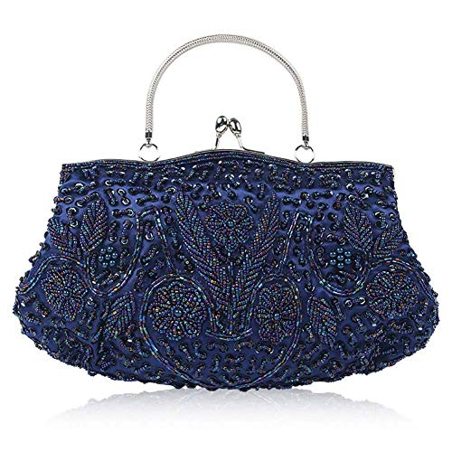 Cocktail Formal Handbag Vintage Womens With Detachable Clutch Purse Evening Beaded Wedding 1920S Clutch Bag For Style Party Blue Sequined Chain Embroidered Evening 4pqFa