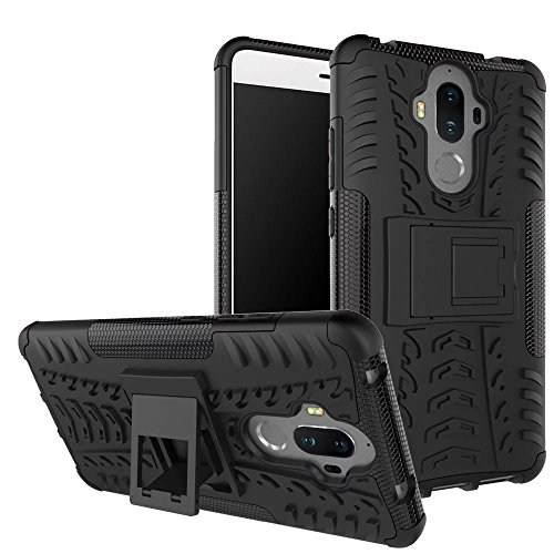 HUAWEI Mate 9 Case with Stand Support,Lantier Tire Rubber Texture Design Shockproof Non-Slip Dual Layer Hybrid Hard Plastic Protective Case Cover for HUAWEI Mate 9 5.9