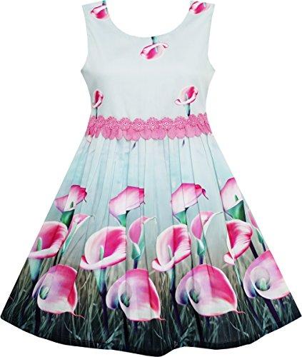 (HJ83 Girls Dress Pink Calla Lily Flower Garden Print Lace Waist Size 6)