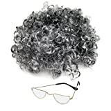Kids / Adults Granny Fancy Dress Grey Curly Wig & Glasses (WORLD BOOK WEEK / DAY)