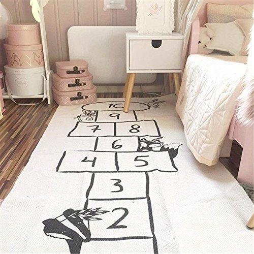 Jeteven Hopscotch Game Rug, Kids Rug, Number Play Mat Learning Rug Educational Hop and Count Cotton Floor Carpet for Baby Infant Toddler, Bedroom Playroom Playmats