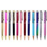 PASISIBICK Ballpoint Pens,Bling Dynamic Liquid Sand Pens Black Ink for Office Supplies(12 Pcs)