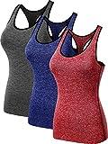 Neleus Women's 3 Pack Dry Fit Compression Long Tank Top,8007,Blue,Grey,Red,US L,EU XL