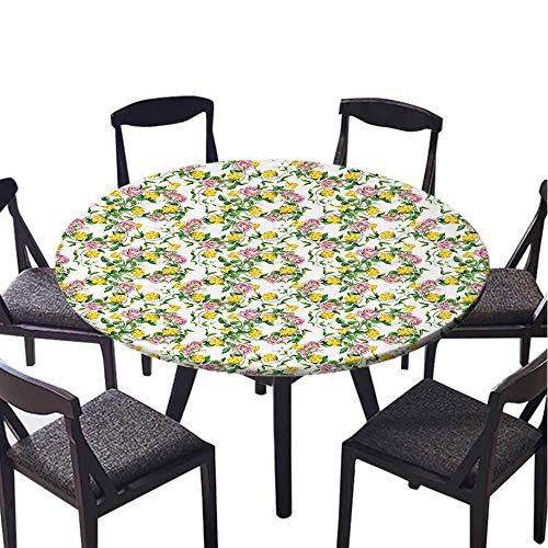 SATVSHOP Round Table-70 Round-for Birthday Party, Graduation Party,Flower Watercolor Pattern with omantic os and Cute Lilacs Natural Garden Yellow and Pink.(Elastic Edge) ()