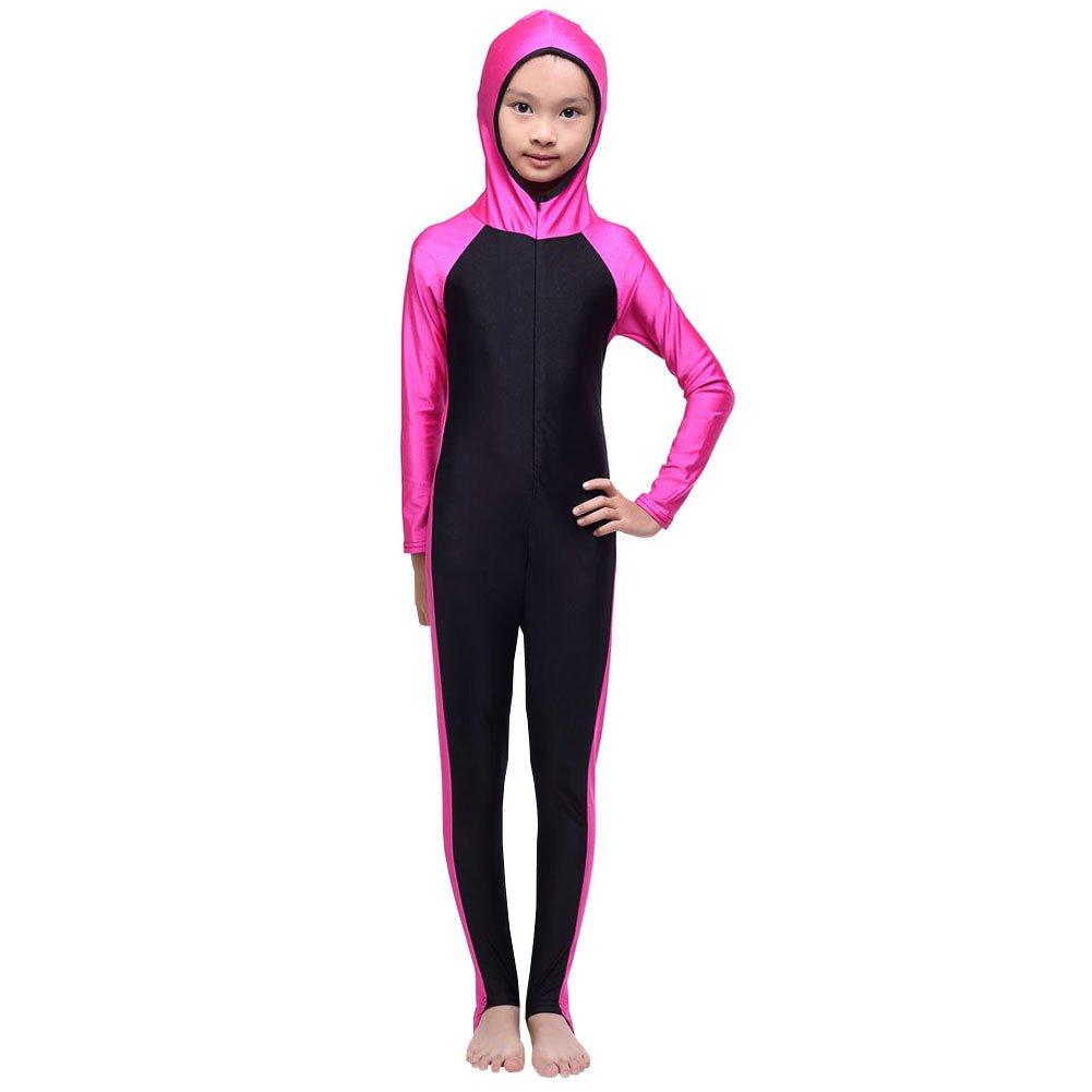 LSHEL Girls Kids Swimsuit Beachwear Swimwear Children Swimming Costumes Modest Muslim Swimwear