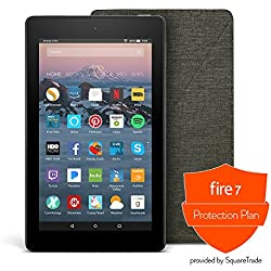 All-New Fire 7 Protection Bundle with Fire 7 Tablet (8 GB, Black), Amazon Cover (Charcoal Black) and Protection Plan (1-Year)
