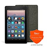 Fire 7 Protection Bundle with Fire 7 Tablet (8 GB, Black), Amazon Cover (Charcoal Black) and Protection Plan (2-Year)