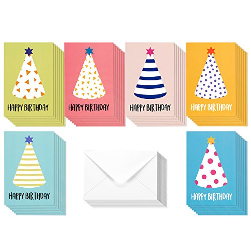 48 Pack Children Birthday Cards - Colorful Party Hats Stripe and Polka Dot Designs - Happy Birthday Greeting Cards Assortment for Kids Variety Pack - Bulk Box Set with Envelopes Included - 4x6 Inches