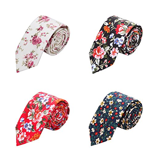 - AUSKY 4 Packs Fashion Floral Skinny Neckties for Men Boys in Different Color (Floral A)