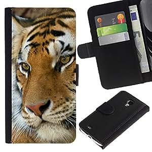 """Samsung Galaxy S4 Mini i9190 / i9195 (Not For Galaxy S4) , la tarjeta de Crédito Slots PU Funda de cuero Monedero caso cubierta de piel ("""" Tiger Cute Feline Animal Orange Africa"""")"""