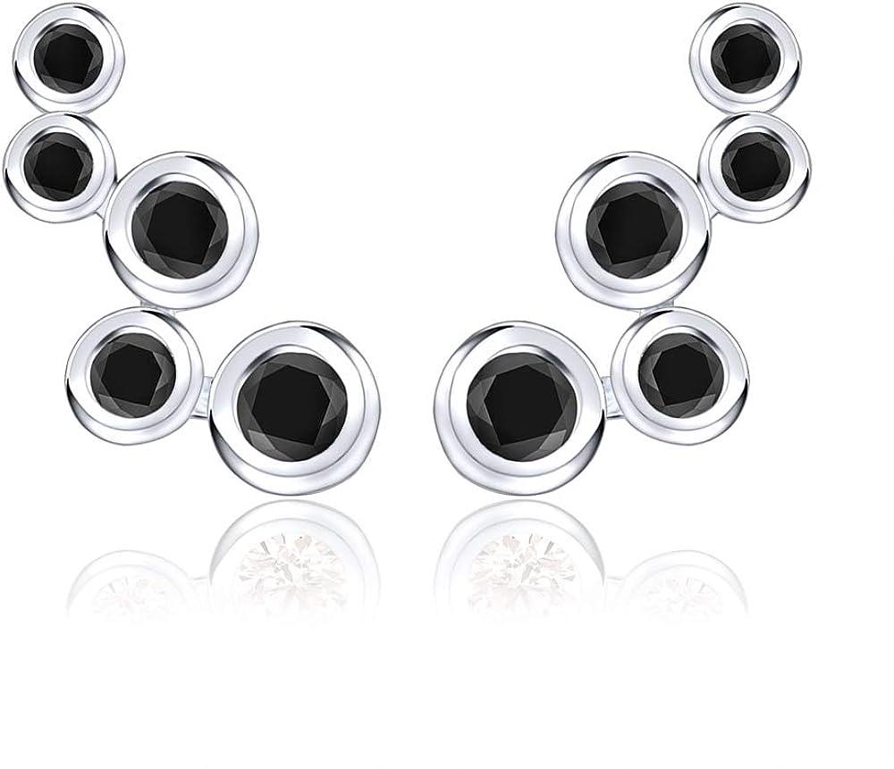 AoedeJ Bubble 925 Sterling Silver Cubic Zirconia Ear Climber Earrings Cartilage Crawler Stud Earrings
