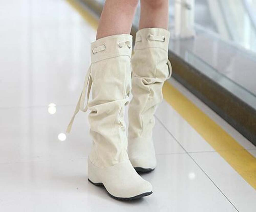 Slouch Bottes Mid-calf Bottes 4cm Wedge 32-43 Boots Heel Femmes Knight Boots Femmes Handsome Round Toe Drawstring Cowboy Boots Eu Taille 32-43 Beige ea99598 - reprogrammed.space