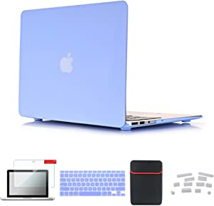 Se7enline MacBook Pro 13 Retina Case Plastic Hard Carrying Case for MacBook Pro 13 inch Model A1502/A1425 with Soft Laptop Sleeve Bag, Keyboard Cover, Screen Protector, Dust Plug, Serenity Blue