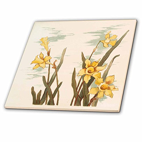 3dRose Vintage Style Floral - Image of Vintage Style Watercolor of Daffodils - 12 Inch Ceramic Tile (ct_279868_4) from 3dRose