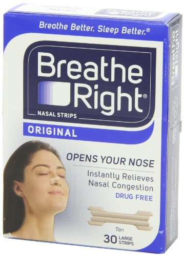 Breathe Right Drug-Free Nasal Strips Snoring Solution, Tan, Large, 30 count