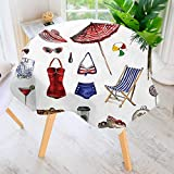 UHOO2018 Round Tablecloth Polyester-Collection Nostalgic Female Beach Fashion Objects Solar Summer Hot Travel Adventure Palms Concept Great for Buffet Table, Parties, Holiday Dinner & More 59'' Round