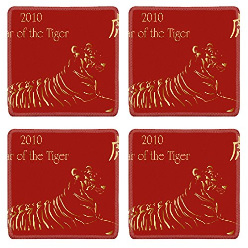Asian Border Square Banner (Luxlady Square Coasters IMAGE ID 5802322 2010 chinese new year card with chinese character for Tiger)