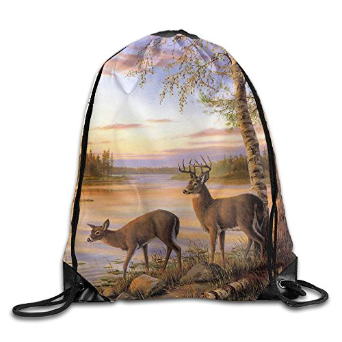 Unisex Large Capacity Drawstring Backpack Landscape Deer Lake Waterproof Bunch Backpack For Men And Women by ZWHUING