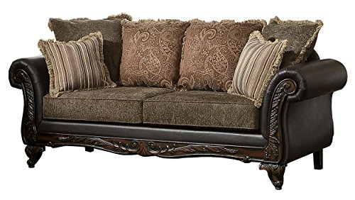 Homelegance Thibodaux Two-Tone Sofa, Brown Vinyl (Furniture Sofa Designer)