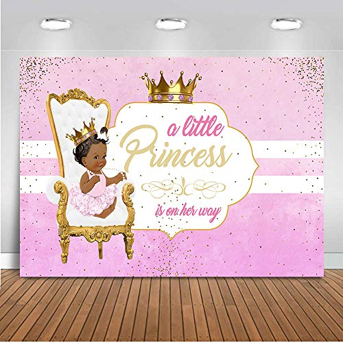 COMOPHOTO Newborn Baby Shower Photo Background Little Princess Photography Backdrop Crown Royal Purple Theme Party Decoration Banner 7x5ft Vinyl Fabric ()