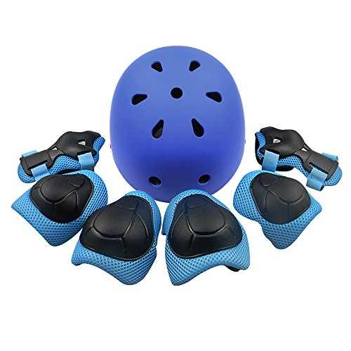 Kids Sports Knees Elbows Wrists Head Support Protection Helmet Set for Unisex Toddler Children Extreme Sports Youth Roller Bicycle BMX Bike Skateboard Hoverboard Protector Guards Pads -7 Pcs