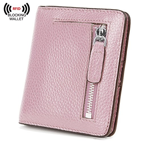 Small Credit Card Wallet (BIG SALE-AINIMOER Women's RFID Blocking Leather Small Compact Bifold Pocket Wallet Ladies Mini Purse with id Window (Light Pink))