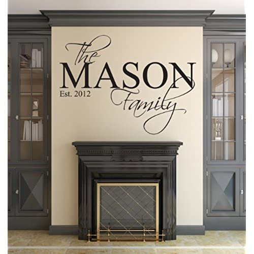 Family name wall decal custom personalized monogram est year living room decor 40wx22h