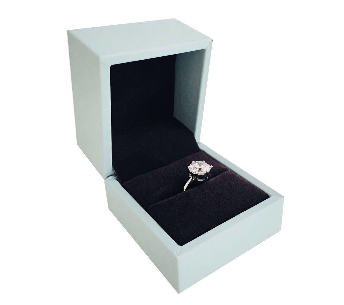 Svea Display Luxurious Ring Box Gift Present Engagement Wedding Premium Grade PU Leather with Soft Velvet Interior Fine Presentation Show Case(Ring)