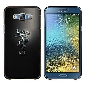 KLONGSHOP // Cubierta de piel con cierre a presión Shell trasero duro de goma Protección Caso - Escucha el rugido Lanniser - Samsung Galaxy E7 E700 //