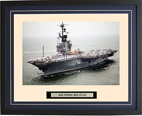 - Navy Emporium - USS Coral Sea CV-43 - Framed - Photo - Engraved Ship Name - Double Mat - Photograph - 16 X 20 - 64CV43Blue