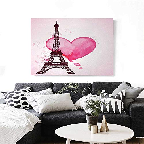 Eiffel Tower The Picture for Home Decoration Eiffel Romantic Valentine Love Watercolor Theme Heart Leaf Silhouette Print Customizable Wall Stickers 36