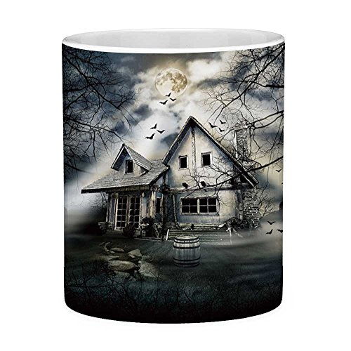 (Funny Coffee Mug with Quote Halloween 11 Ounces Funny Coffee Mug Haunted House with Dark Horror Atmosphere Cloudy Mysterious Frightening Grey White)