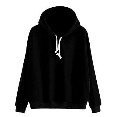 32ef9ba6 AMSKY Women Teen Girls Pullover Hoodie, Long Sleeve Solid Sweatshirt Causal  Junior Hooded Basic Top Blouse
