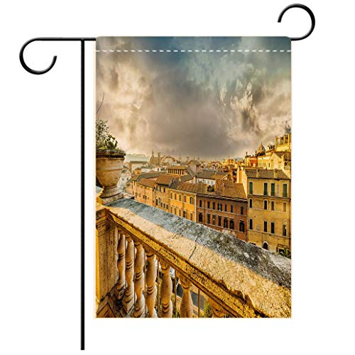 BEISISS Double Print Garden Flag Outdoor Flag House FlagBannerItalian Decor Panoramic View of Historic Center of Rome from Ancient Balcony Aerial Yellow Ldecorated for Outdoor Holiday Gardens