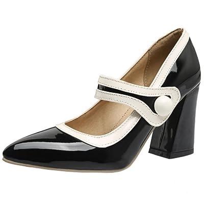 Zanpa Mujer Tacon Ancho Zapatos Mary Janes Shoes Velcro