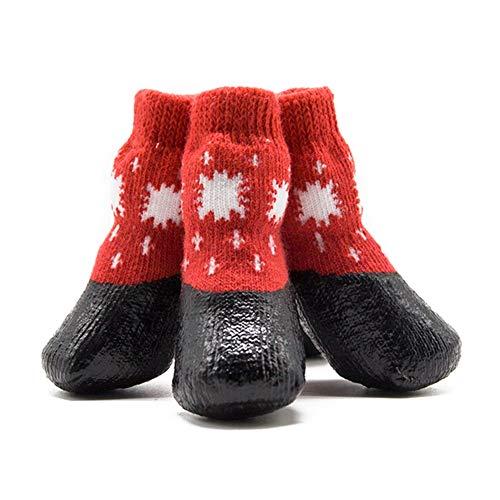 Norbi Halloween Pet Waterproof Socks, Small Medium Large Dog Anti-Slip Dirty-Proof Feet Cover(Red) -