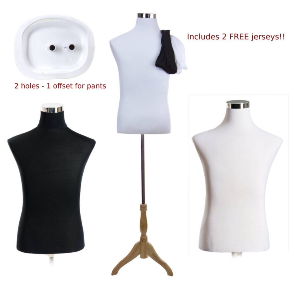 Male Dress Form Torso with BLOND Wood Stand and Jerseys AMT Mannequins MF-102_TORSO