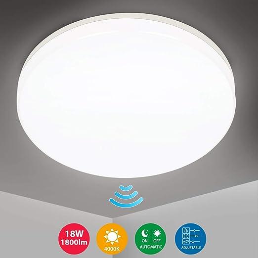 Oeegoo LED Lámpara de Techo con Sensor de Movimiento 360 °, resistente al agua IP44, 18W 1800LM Plafón de Techo Ajustable para Baño Pasillo Escalera Balcón Bodega Neutro Blanco 4000K: Amazon.es: Iluminación