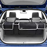Backseat Trunk Organizer for SUV - Hanging Organizer Foldable Cargo Storage Bag with 4 Pockets Adjustable Strap Durable Cover and Fit for Most Vehicles