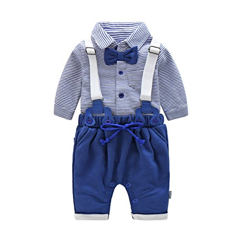 Boarnseorl Newborn Baby Boy Clothing Set Vintage Gentleman Suspenders and Bow tie Dress Suit