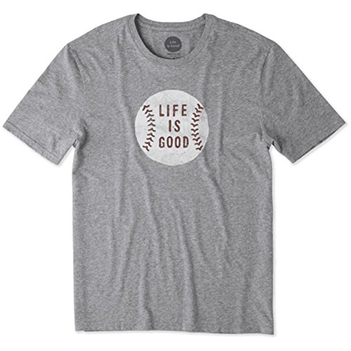Life is Good Mens Smooth Tee Vintage Baseball, Heather Gray, Large Life Is Good Baseball T-shirt