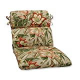 40.5″ Green, Tan and Coral Tropical Garden Decorative Outdoor Patio Rounded Chair Cushion For Sale