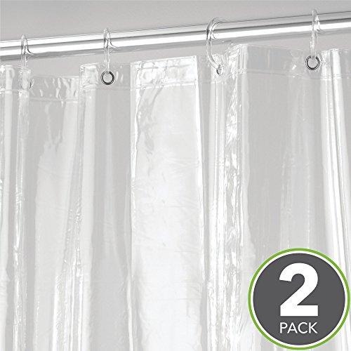 mDesign Vinyl 4.8 Gauge Waterproof Shower Curtain Liner - Pack of 2, Extra-Long, 72