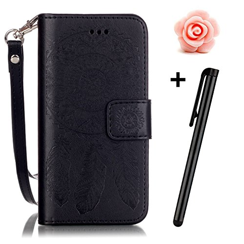 Price comparison product image iPhone 6s Plus Case,TOYYM Dreamcatcher Pattern PU Leather [Wallet Case] with Stand Cover Cash Slots for iPhone 6 Plus/6s Plus 5.5Inch,Black
