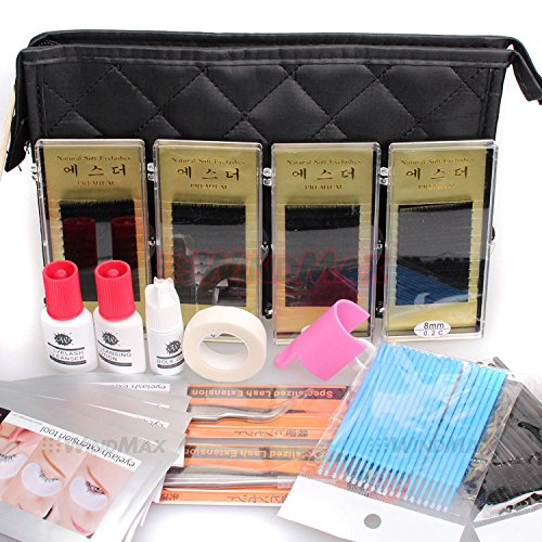 Ships From CA, USA WonderLash Starter Kit Pro Semi Permanent Individual Eyelash Extensions C Curl Eyelahes Lashes Graft Glue Tweezers Cleansing Lotion (A) by WindMax