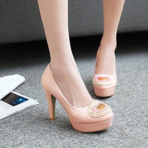MissSaSa Femmes Chaussures Talons Hauts et Bloc Escarpins Bout Ronde (39, rose)