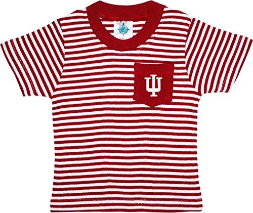 Creative Knitwear Indiana University Hoosiers Stripe Pocket Tee,Crimson/White,24 Months