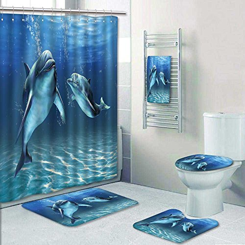 5 Piece Banded Shower Curtain Set. Rug&Contour& Curtain& Bath towel, Two dolphins happily swimming in the ocean Digital Pattern -