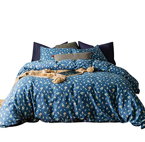 (SUSYBAO 3 Pieces Duvet Cover Set 100% Natural Cotton Queen Size Blue and Coral Floral Green Leaves Botanical Bedding with Zipper Ties 1 Duvet Cover 2 Pillowcases Luxury Quality Soft Durable Breathable)