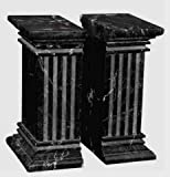 Khan Imports Decorative Black Marble Bookends, Heavy Stone Column Bookends for Office - Large